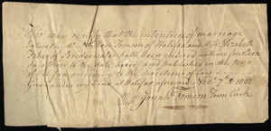 Marriage Intention of Nathan Tomson and Elizabeth Fobes, 1802