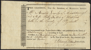 Marriage Intention of Arnold Leach of Middleborough, Massachusetts and Polly Fuller, 1812