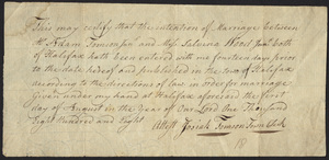 Marriage Intention of Adam Tomson and Lavina Wood, 1808