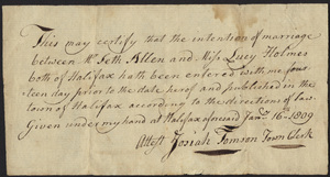Marriage Intention of Seth Allen and Lucy Holmes, 1809