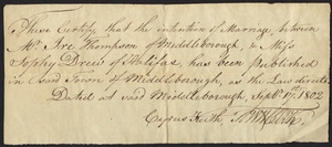 Marriage Intention of Ira Thompson of Middleborough and Sophia Drew, 1802