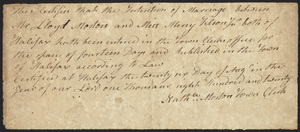 Marriage Intention of Lloyd Morton and Mercy Tilson, 1820