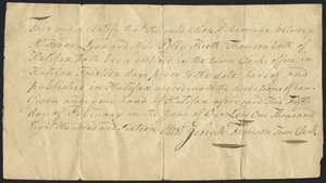 Marriage Intention of Isaac Lyon and Polly Keith Thomson, 1816