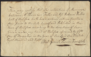 Marriage Intention of Ebenezer Fuller and Rebecca Fuller, 1808