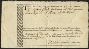 Marriage Intention of Sebery Chilo Hathaway of Bridgewater and Sarah Porter, 1818