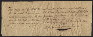 Marriage Intention of Samuel Tomson and Clare Sturtevant, 1801