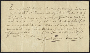 Marriage Intention of Nathaniel Thomson and Molly Foster, 1812