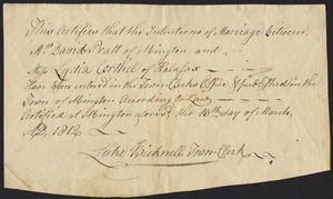 Marriage Intention of David Pratt of Abington and Lydia Corthell, 1812