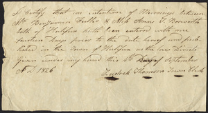 Marriage Intention of Benjamin Fuller and Anne Bosworth, 1826