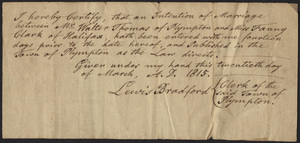 Marriage Intention of Walter Thomas of Plympton, Massachusetts and Fanny Clark, 1815