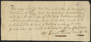 Marriage Intention of Isaac Soule II of Middleborough, Massachusetts and Ruth Fuller, 1805