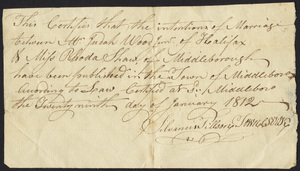 Marriage Intention of Judah Wood Jr. and Rhoda Shaw of Middleborough, Massachusetts, 1812