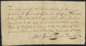 Marriage Intention of Joshua C. Lyon and Lucy Thomson, 1809