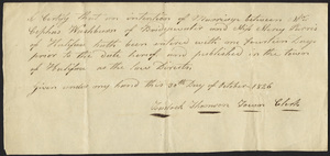 Marriage Intention of Cephus Washburn of Bridgewater, Massachusetts and Mercy Parris, 1826