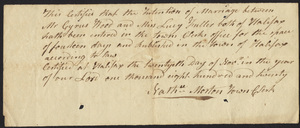 Marriage Intention of Cyrus Wood and Lucy Fuller, 1820