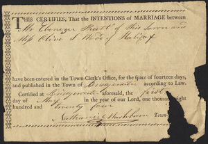 Marriage Intention of Ebenezar Pratt and Olive S. Wood, 1824