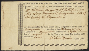 Marriage Intention of Arnold Leach of Middleboro and Polly Fuller, 1812