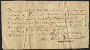 Marriage Intention of Benjamin Hammond of Carver, Massachusetts and Hannah Sturtevant, 1802