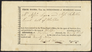 Marriage Intention of Alpha Lyon and Tabatha Leach, 1829