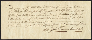 Marriage Intention of Melzar Adams Jr. and Olive Inglee, 1804