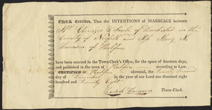 Marriage Intention of Ebenezer T. Soule of Dorchester, Massachusetts and Mary M. Thomson, 1828