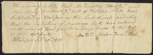 Marriage Intention of Timothy Wood, Jr. and Mercy Bosworth, 1818