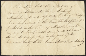 Marriage Intention of Thomas Soule of Middleborough, Massachusetts and Betsy Soule, 1823