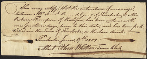 Marriage Intention of Samuel Ramsdell, Jr. of Pembroke, Massachusetts and Rebecca Thomson, 1809