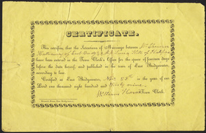 Marriage Intention of Ebenezar Hathaway of East Bridgewater, Massachusetts and Lucia Hill, 1831