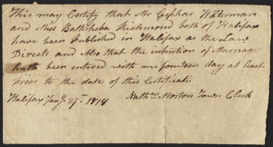 Marriage Intention of Cephas Waterman and Bathsheba Richmond, 1818