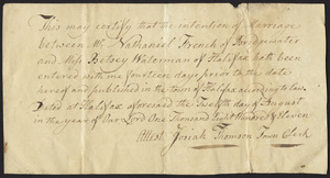 Marriage Intention of Nathaniel French of Bridgewater, Massachusetts and Betsey Waterman, 1811