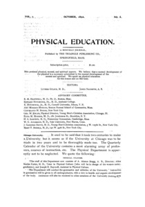 Physical Education, October, 1892