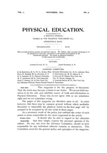 Physcial Education, November, 1892