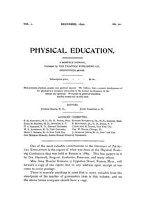 Physical Education, December, 1892