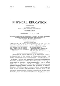 Physical Education, September, 1893