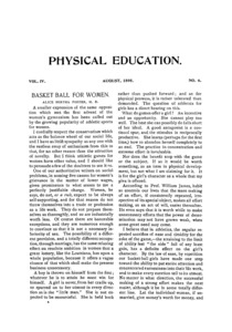 Physcial Education, August, 1895