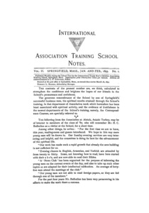 The International Association Training School Notes (vol. 2 no. 1), January and February, 1893