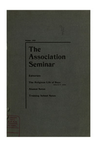 The Association Seminar (vol. 11 no. 1), October, 1902