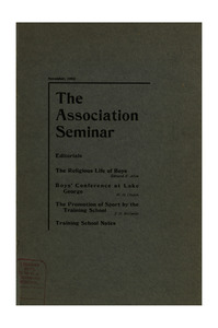 The Association Seminar (vol. 11 no. 2), November, 1902