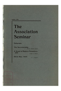 The Association Seminar (vol. 14 no. 1), October, 1905