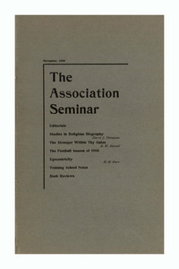 The Association Seminar (vol. 17 no. 2), November, 1908