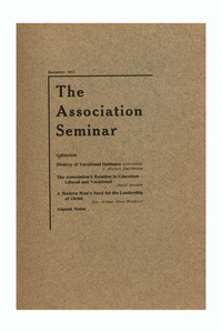 The Association Seminar (vol. 21 no. 3), December 1912
