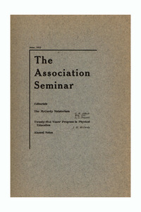 The Association Seminar (vol. 21 no. 9), June 1913