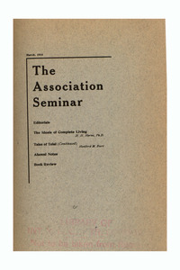 The Association Seminar (vol. 22 no. 6), March 1914