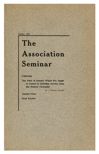 The Association Seminar (vol. 24 no. 1), October 1915