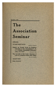The Association Seminar (vol. 24 no. 2), November 1915