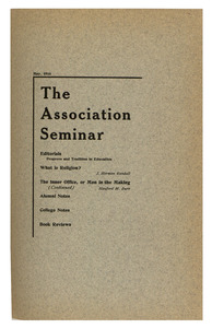 The Association Seminar (vol. 24 no. 8), May 1916