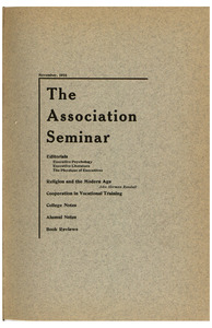 The Association Seminar (vol. 25 no. 2), November 1916