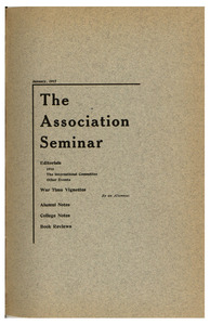 The Association Seminar (vol. 25 no. 4), January 1917