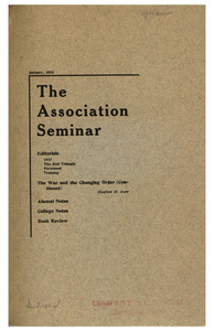 The Association Seminar (vol. 26 no. 4), January 1918